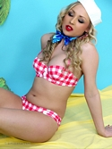 Cute Blonde Babe Danni King On Exotic Island In Bikini And Denim Hot Pants - Picture 13