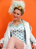 Saucy Blonde Hannah B Teases In Corset And White Fishnet Stockings Knows - Picture 2