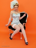 Saucy Blonde Hannah B Teases In Corset And White Fishnet Stockings Knows - Picture 11