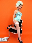 Saucy Blonde Hannah B Teases In Corset And White Fishnet Stockings Knows - Picture 13