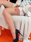 Saucy Blonde Hannah B Teases In Corset And White Fishnet Stockings Knows - Picture 5