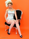 Saucy Blonde Hannah B Teases In Corset And White Fishnet Stockings Knows - Picture 8