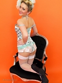 Saucy Blonde Hannah B Teases In Corset And White Fishnet Stockings Knows - Picture 9