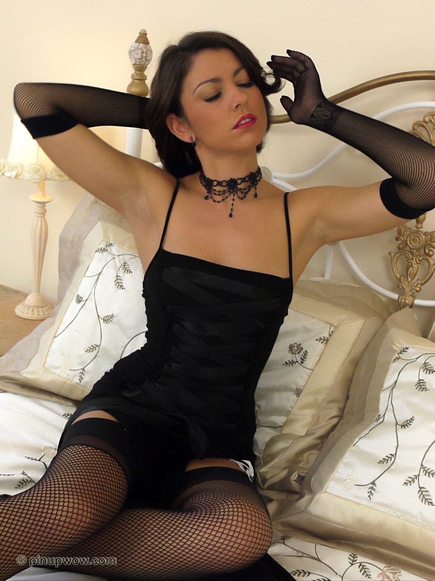 Glamorous brunette is simply irresistible in this saucy for Simply stockings